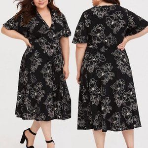 Torrid Jersey Floral Print Midi Dress Black 2